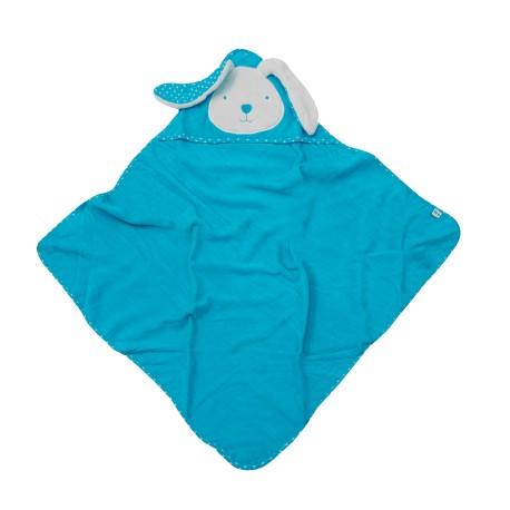 Toalla con capucha Azul abierta