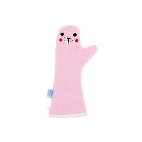 manopla de baño rosa