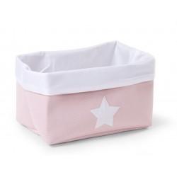 Caja Canvas Plegable 32*20*20 - Rosa/Blanco