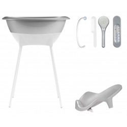 Set02 LUMA: bañera y asiento baño - Dark Grey/patas White