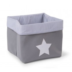 Caja Canvas Plegable 32*32*29 - Gris/Rayas
